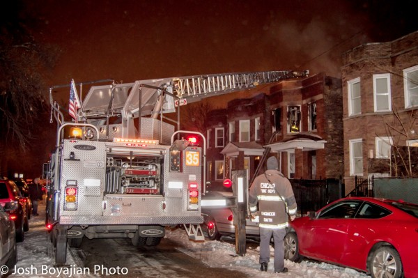 Chicago fire truck at night fire scene