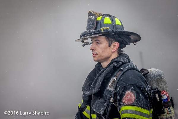 firefighter portrait at fire scene