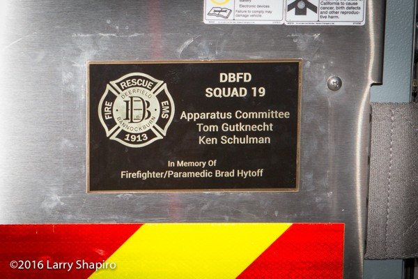 fire truck dedication to Brad Hytoff