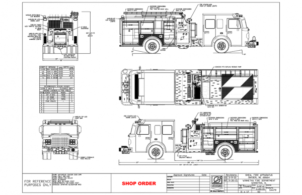 Drawing of new Smeal fire engine for the Winnetka Fire Department
