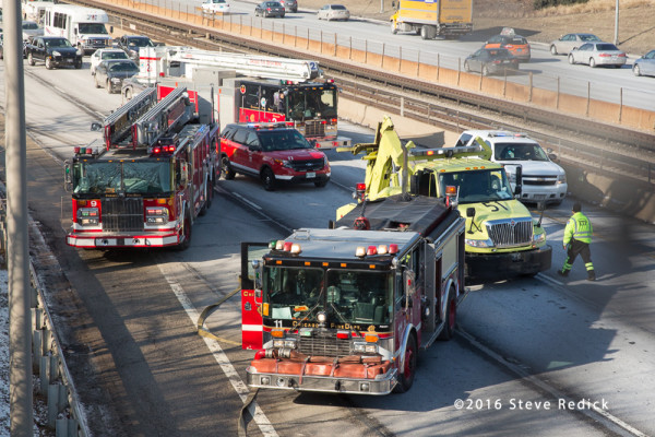 fire trucks at highway crash