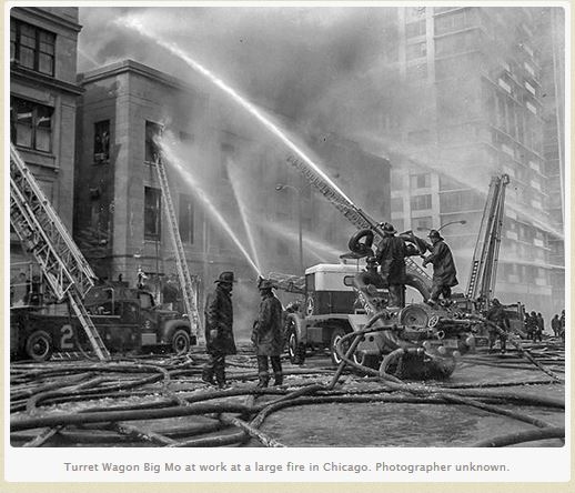 historic fire scene in Chicago depicting Big Mo