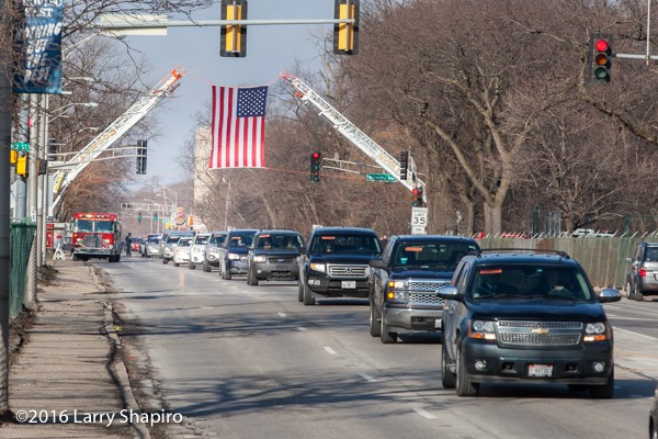 funeral procession for firefighter