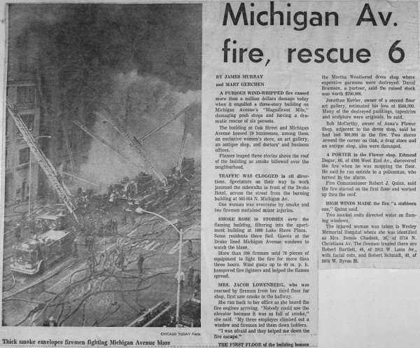 News clipping from a 5-11 Alarm fire with 1 Special Alarm at 952 N Michigan Ave,  Feb 5, 1971