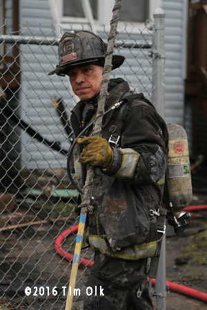Chicago firefighter from Squad 5 after battling a fire