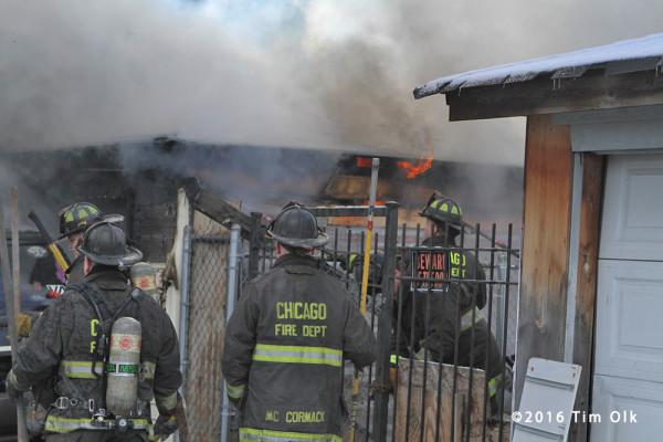 alley garage on fire in Chicago