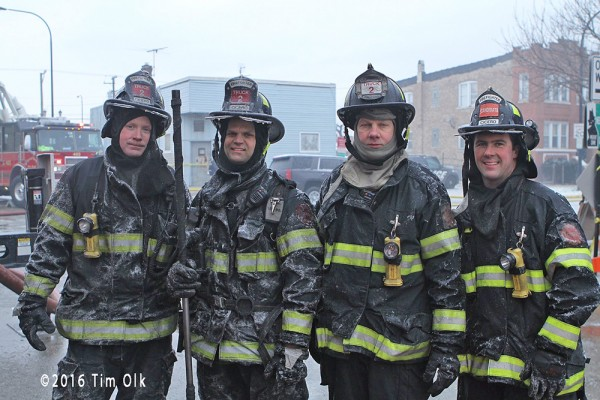 firefighters after battling a fire