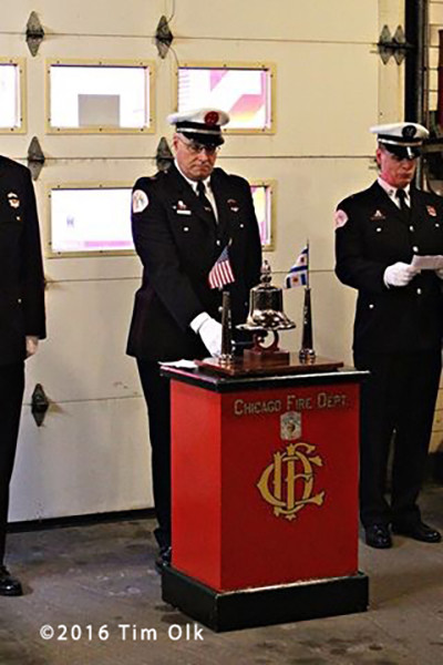A bell-ringing ceremony was held (1/26/16) at Engine Chicago Fire Lt. Edmond Coglianese.