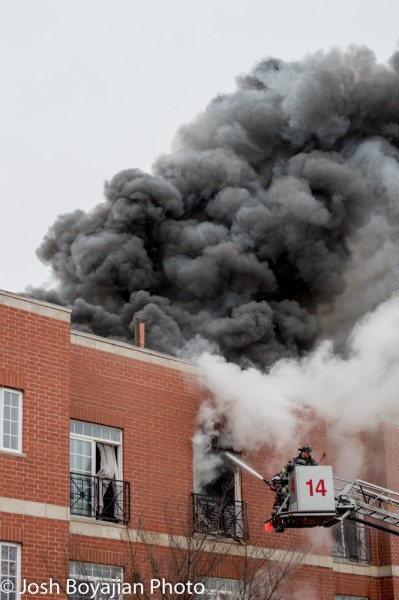 heavy smoke from building fire