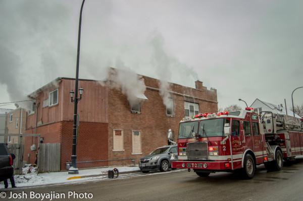Cicero FD E-ONE tractor-drawn aerial at fire scene