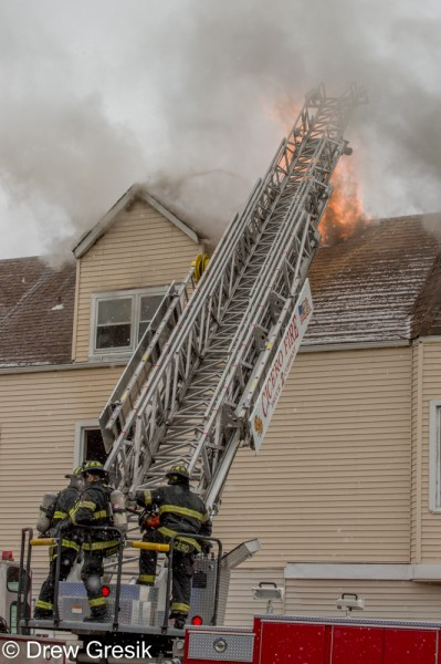 aerial ladder working at fire scene