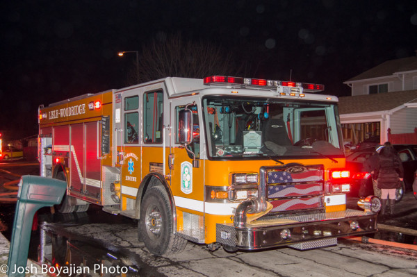 Lisle-Woodridge FPD fire truck at fire scene