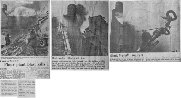 News clipping from a huge fire at the Dixie Portland Flour Mill in Chicago 3-18-70