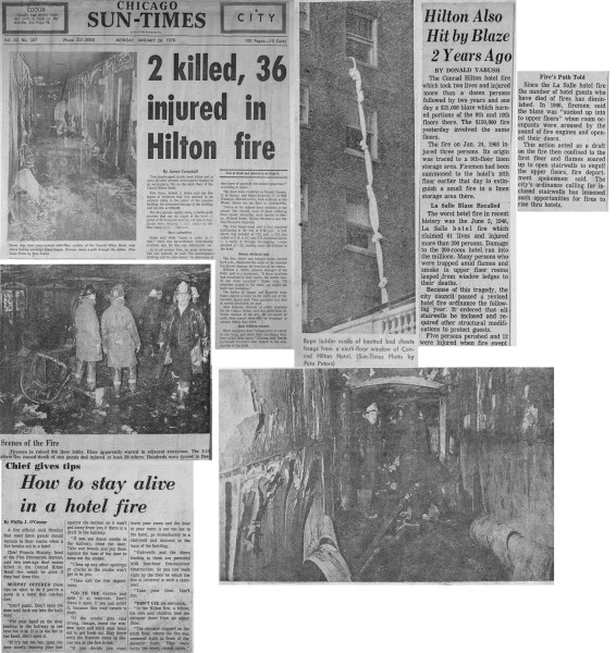 A fatal fire at the Conrad Hilton Hotel in Chicago January 25, 1970