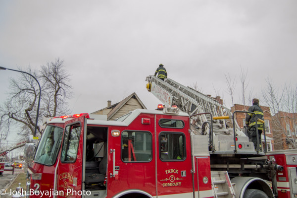 Cicero FD ladder truck at fire scene