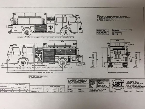 mechanical drawing of new fire engine