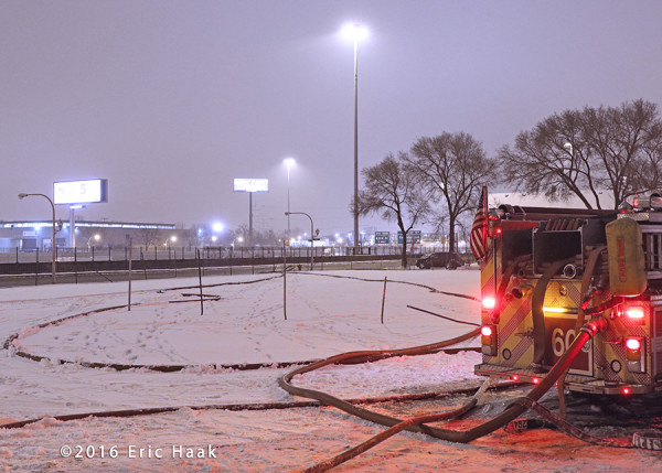 fire hose in the snow