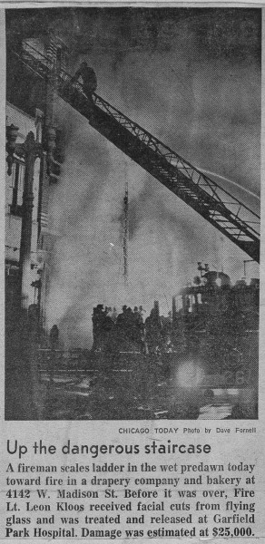 News clipping from a historic fire in Chicago