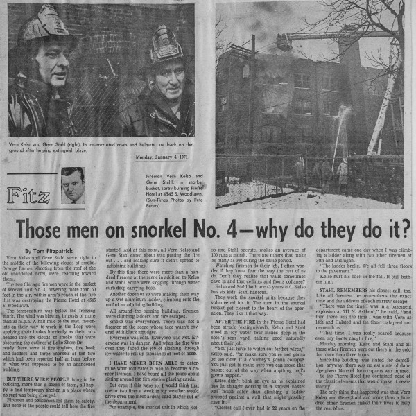 News clipping from a historic Chicago fire at the Pierre hotel