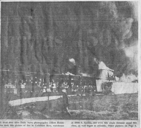 News clipping from a historic Chicago fire at a vacate Goldblatts warehouse