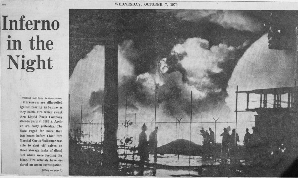 News clipping from an historic fire that destroyed mcCormick Place in Chicago on January 16, 1967