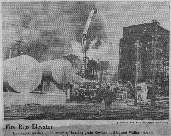 News clipping from an historic fire that destroyed a grain elevator in Chicago 4-14-69