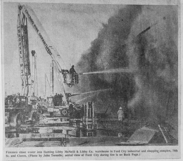 News clipping from an historic fire that destroyed the Ford City shopping center 4-2-68