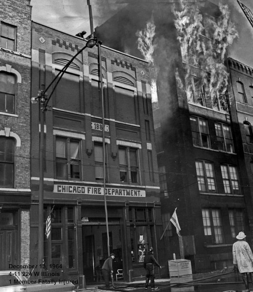 Chicago Tribune photo from an extra alarm fire at 224 W Illinois in Chicago 12-13-64 where Firefighter Joseph P Carone was killed.