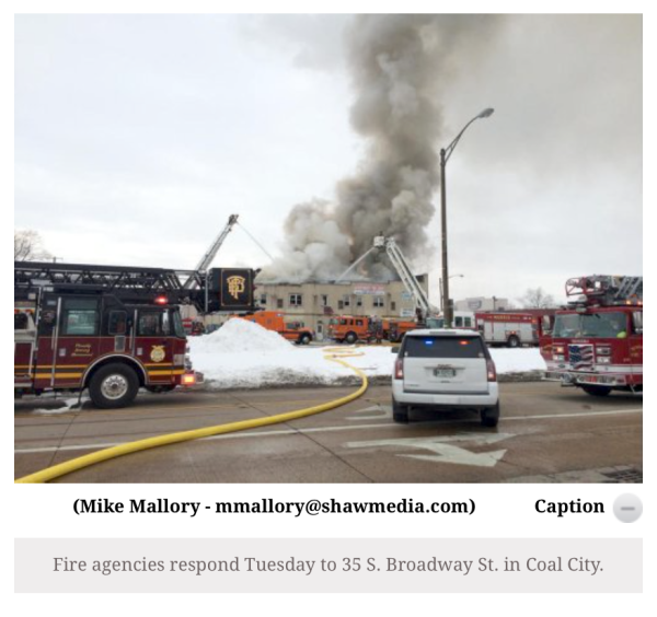 Coal City building burns 2-16-16