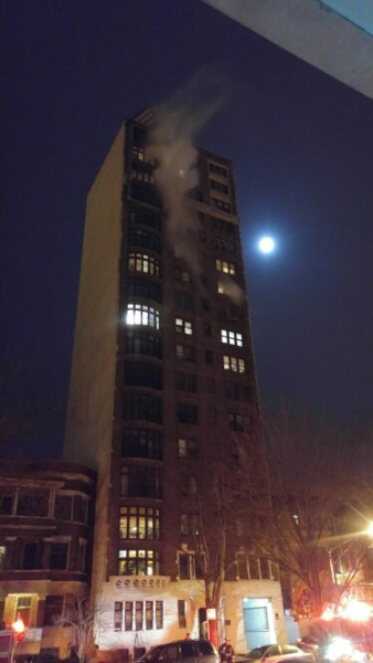 fire on the 10th floor of a high-rise building