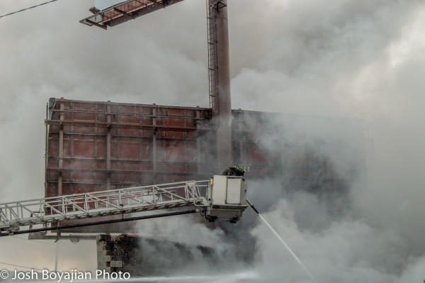 old e_ONE tower ladder working at fire scene in Chicago