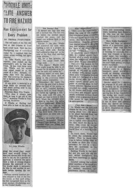 historic news article about Chicago FD's Snorkel Squad