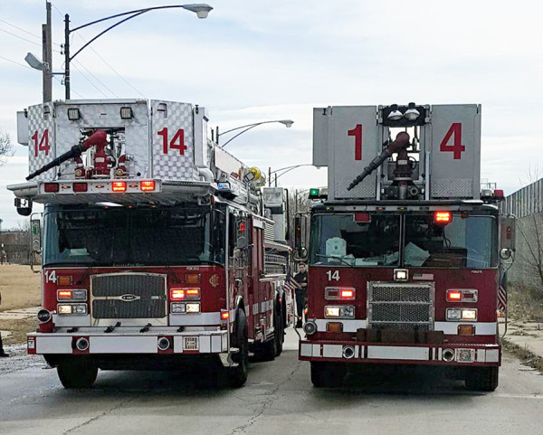 Chicago FD Tower Ladder 14 old and new