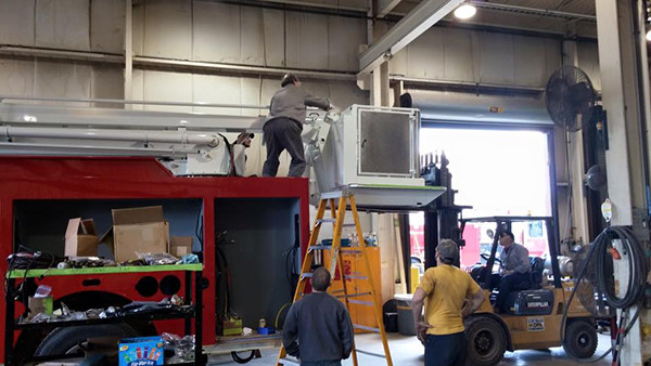 Snorkel fire truck being built