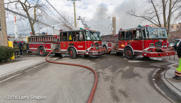 Chicago fire engines at fire scene