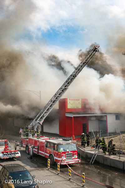 Chicago firefighters battle a huge fire