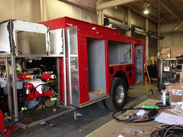 Snorkel fire truck being built