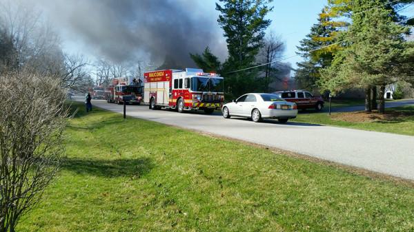 Ferrara fire truck at fire scene