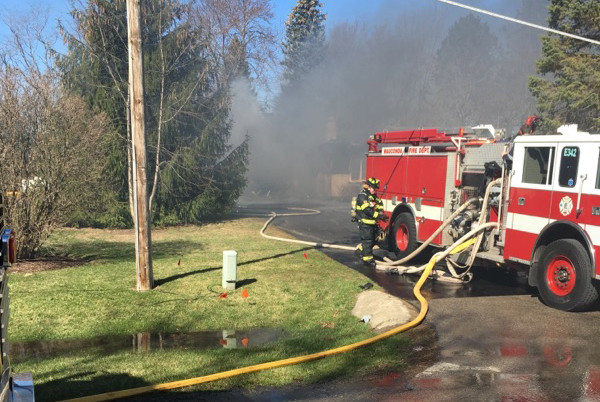 Pierce fire truck at fire scene