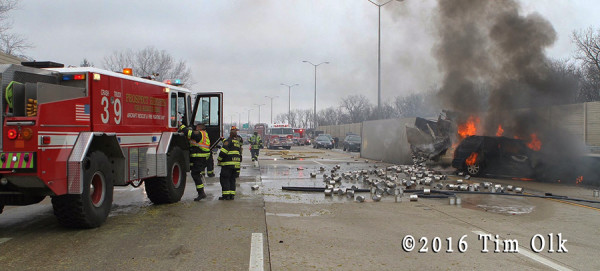 ARFF on highway with truck fire