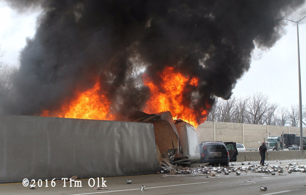 tractor-trailer burning after crash