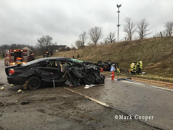 bad crash scene on highway