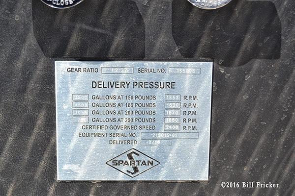 Spartan fire truck law tag