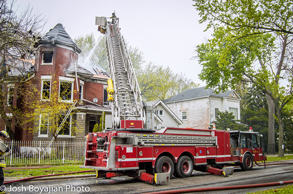 Chicago FD spare tower ladder at fire scene