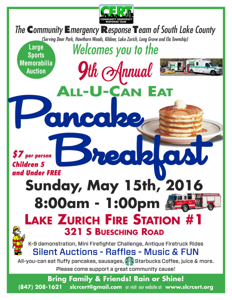 2016 CERT Pankcake Breakfast Flyer