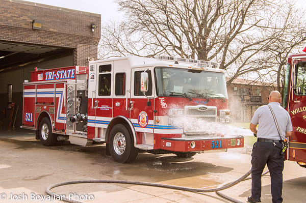 wet down ceremony for new fire engine