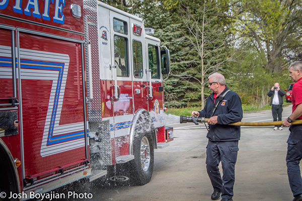wetdown ceremony for new Tri-State FPD fire engine
