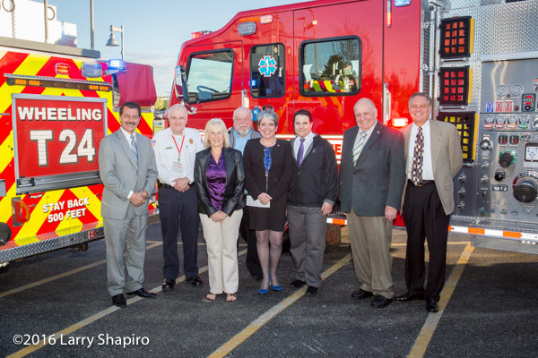 village trustees with new Wheeling fire engine