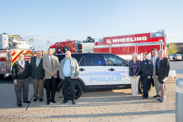 village trustees with new Wheeling police car
