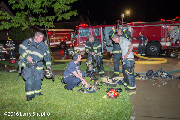 firefighters after battling a blaze